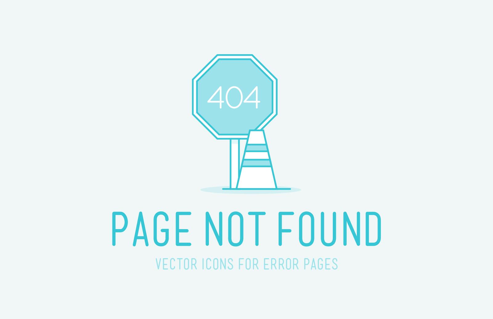 404 Error Page Vector Icons