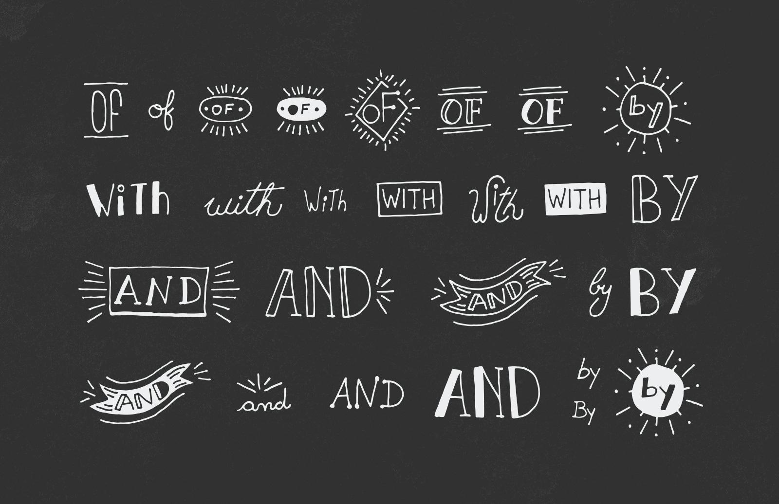 50 Hand Drawn Catchwords & Ampersands