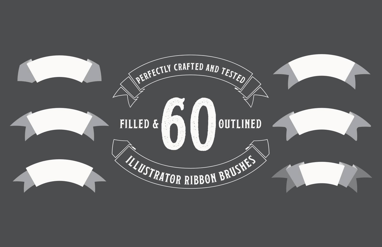 60 Illustrator Ribbon Brushes
