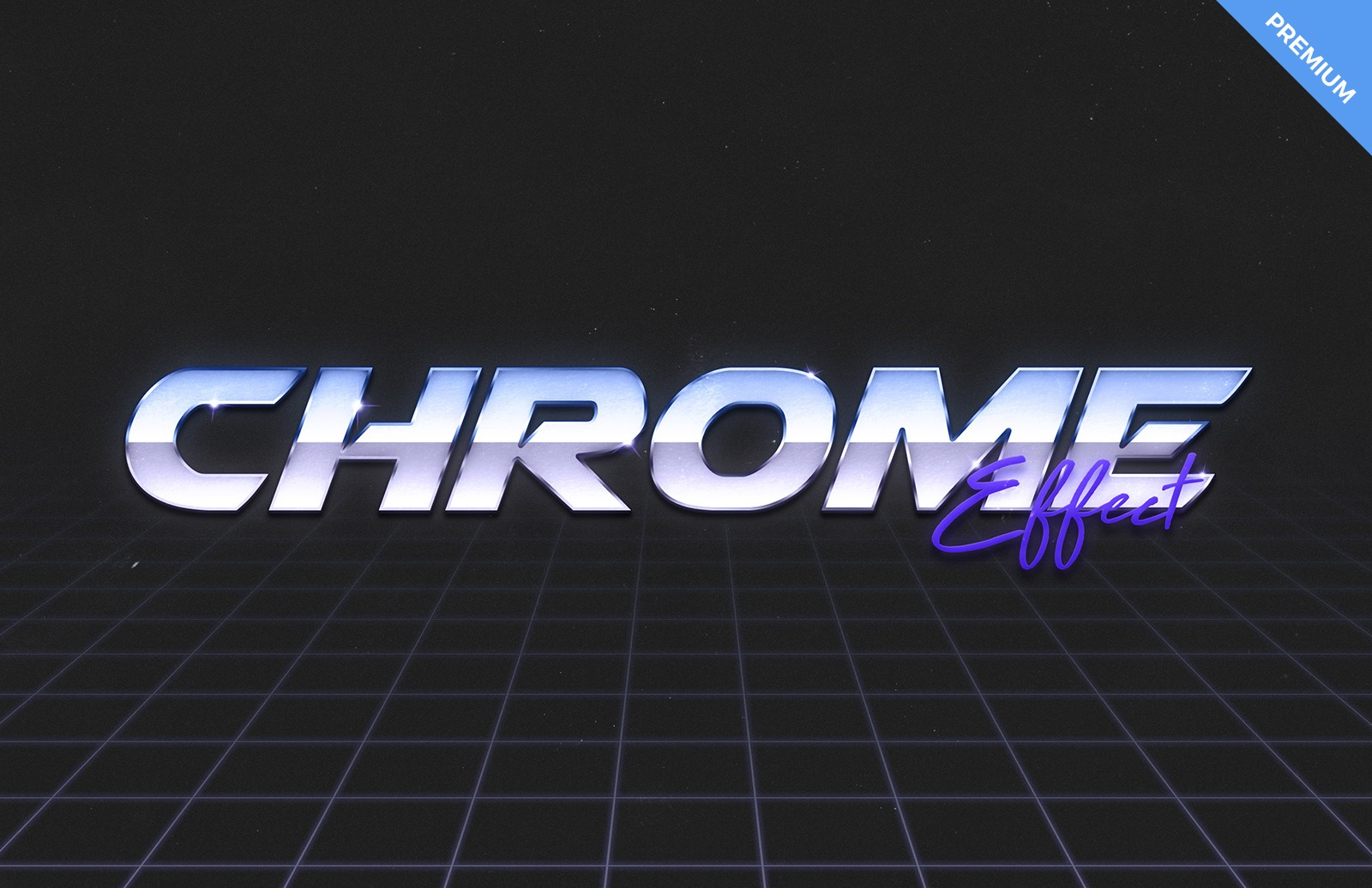 80s Chrome Text Effect