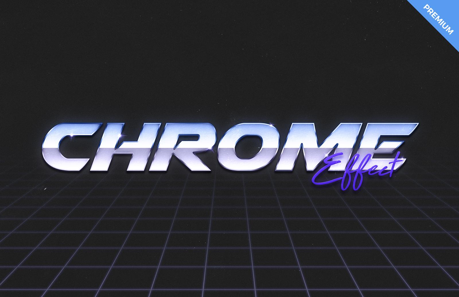 80s Chrome Text Effect