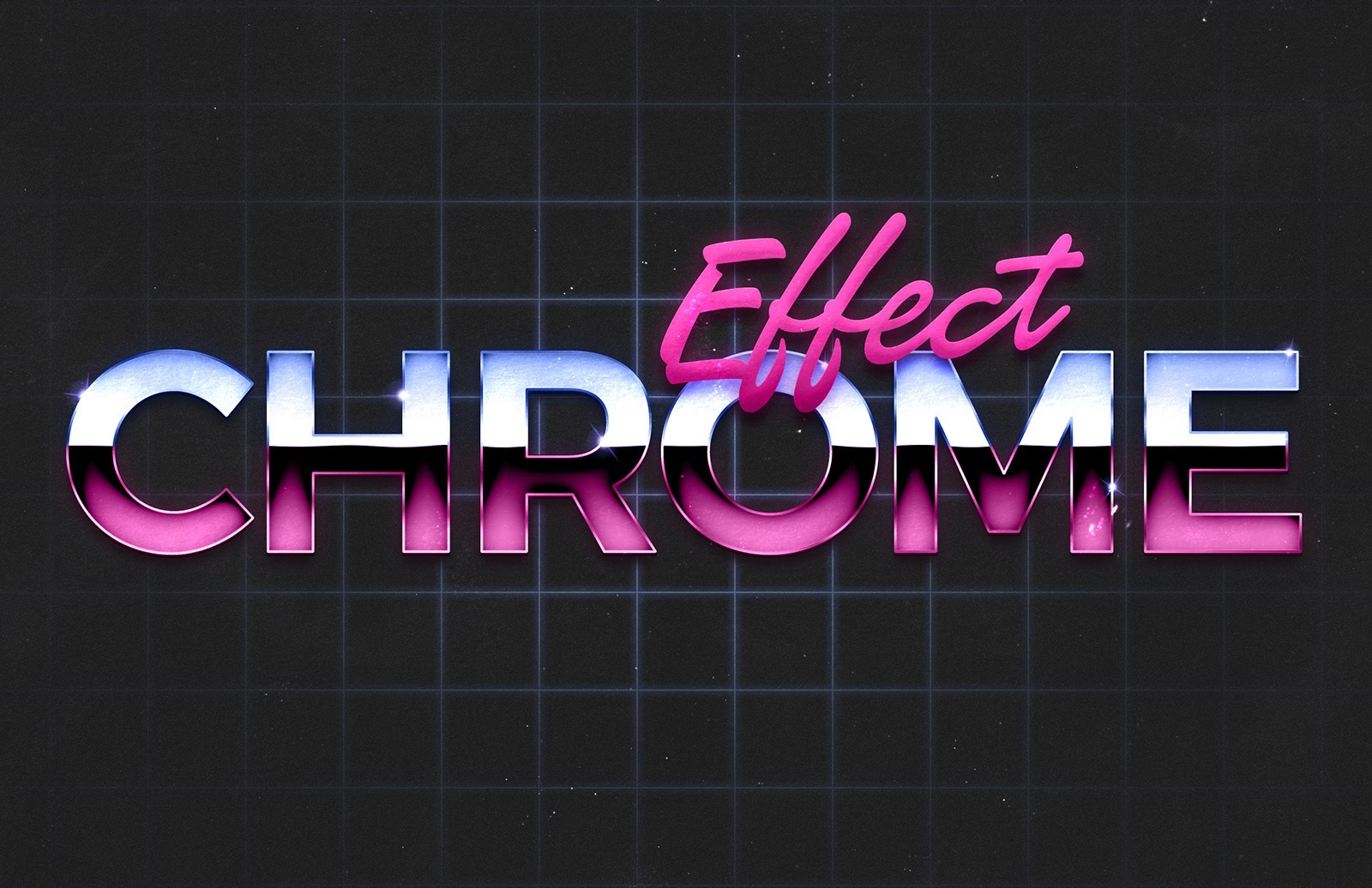 80s Chrome Text Effect 1