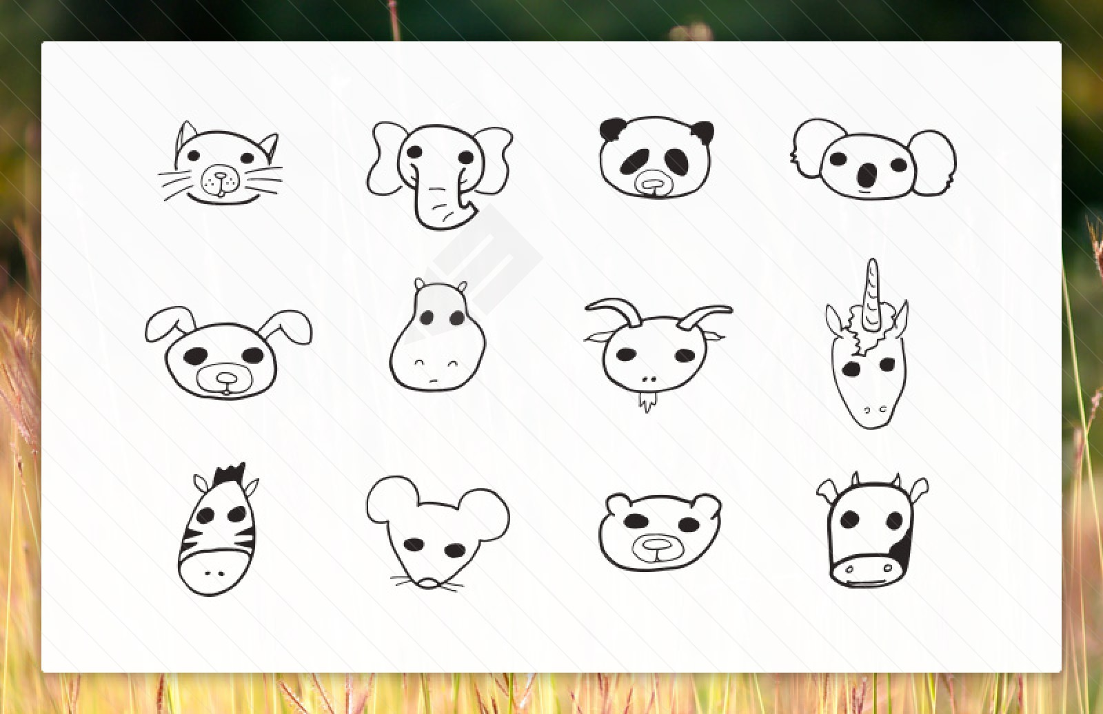 Large 1600X1036  Doodled  Vector  Animal  Faces  Preview 1