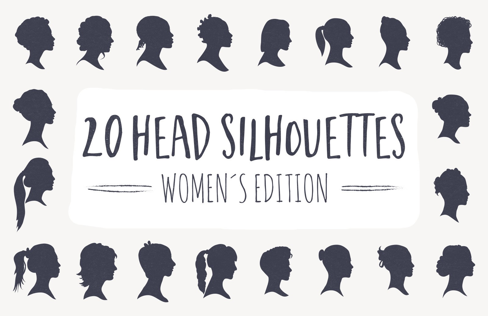 20 Head Silhouettes - Women Edition