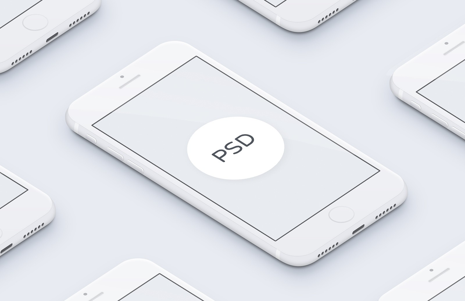 3D White iPhone Mockup
