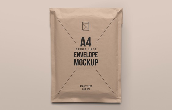 A4 Bubble Lined Post Pack Envelope Mockup