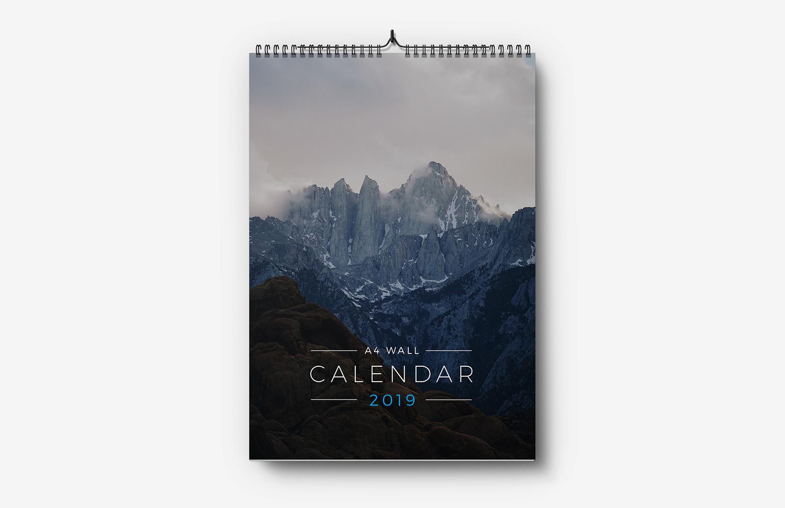 Free A4 Wall Calendar Template 2019
