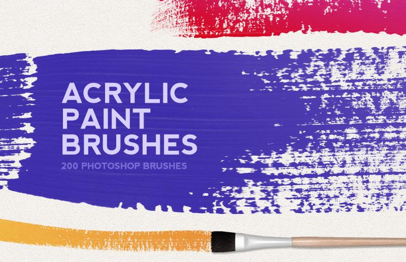 200 Acrylic Paint Photoshop Brushes 1