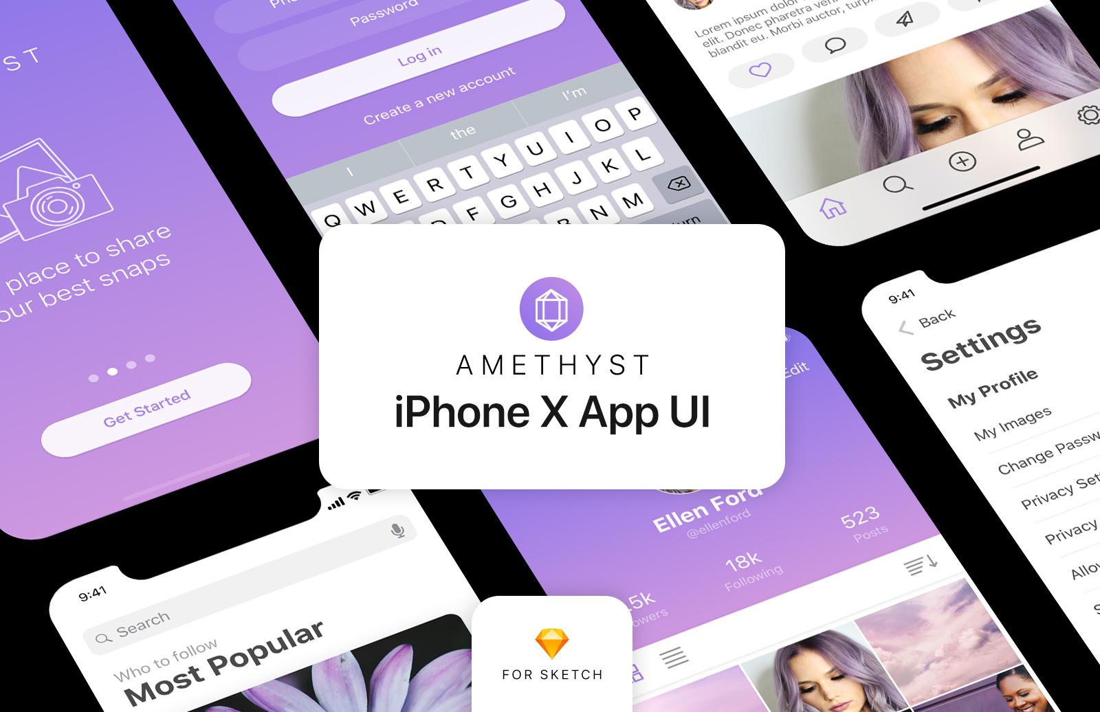 Amethyst: Free iPhone X App UI