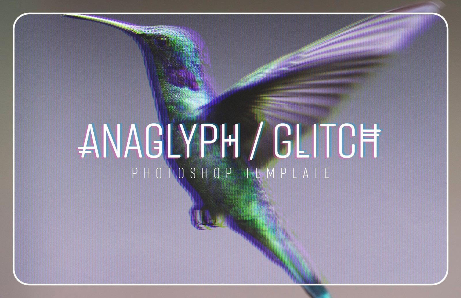 Anaglyph Glitch Photoshop Template Preview 1