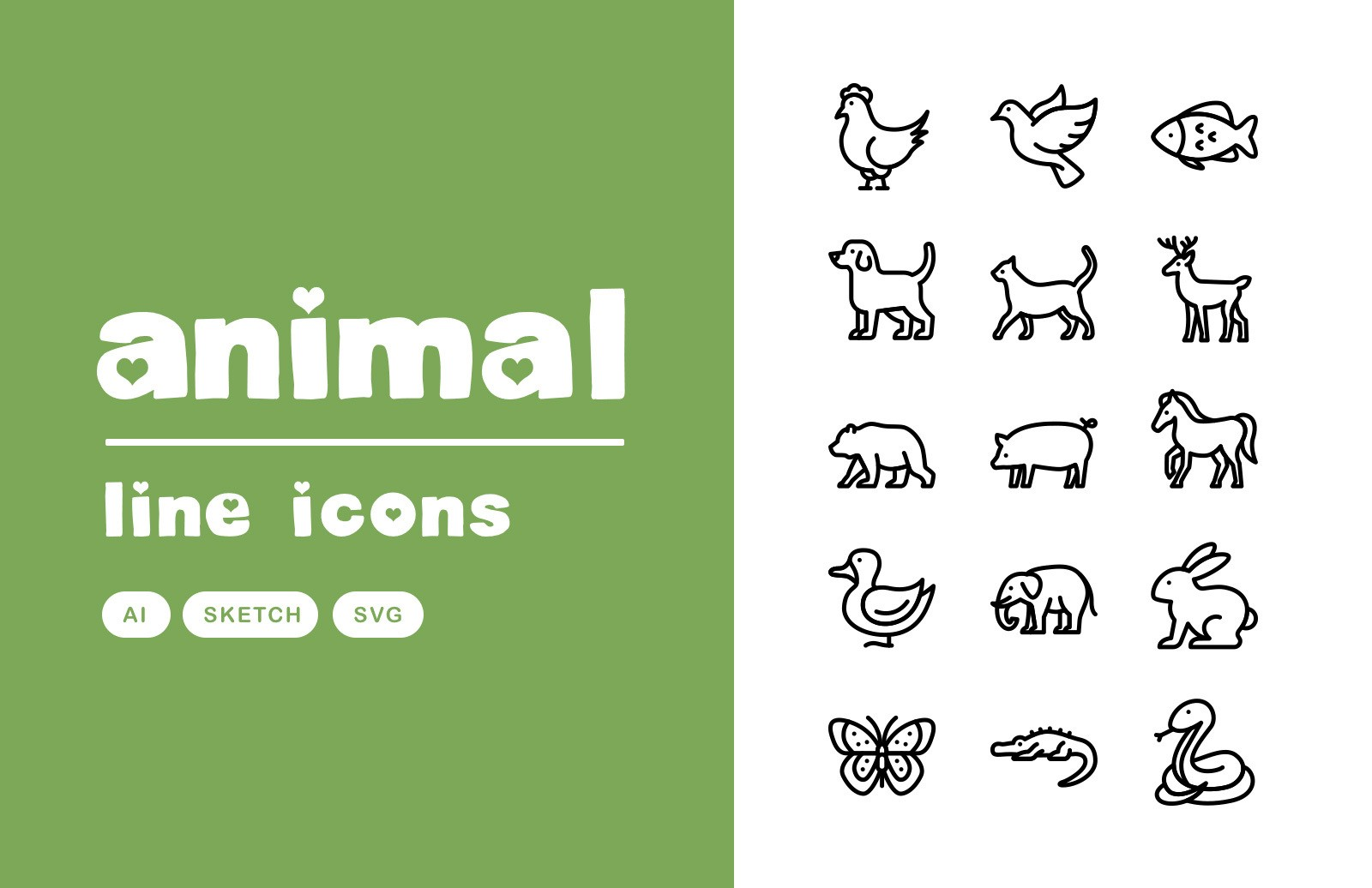Animal Vector Line Icons Preview 1A
