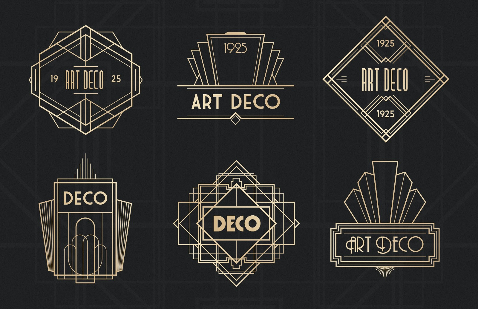 Large Art  Deco  Badges  Preview 2B