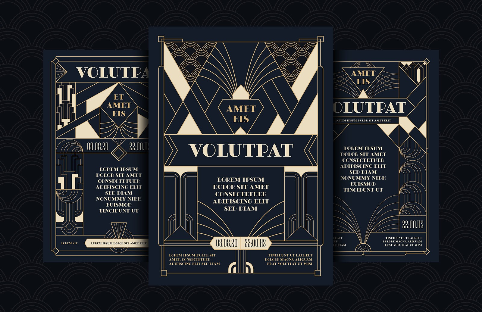 Art Deco Flyers Templates Preview 1