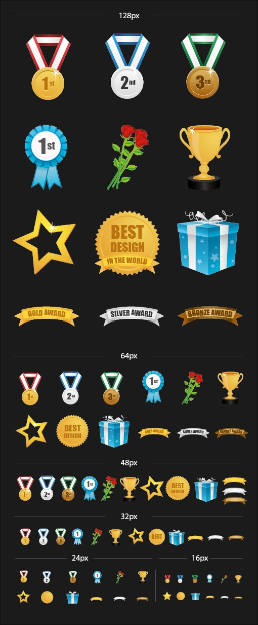 Awards & Badges Vector Icon Pack