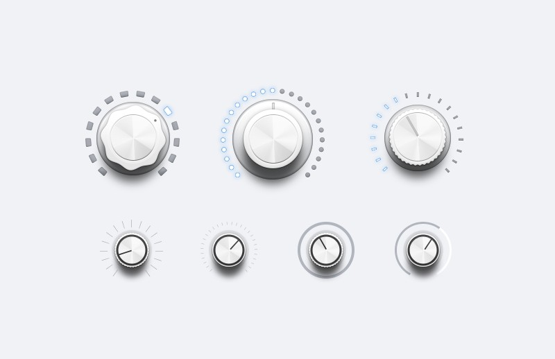 Audio UI Controls (Light & Dark)