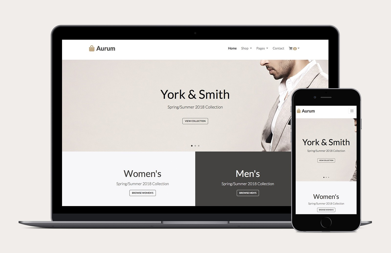 Aurum Bootstrap 4 Ecommerce Template Preview 1