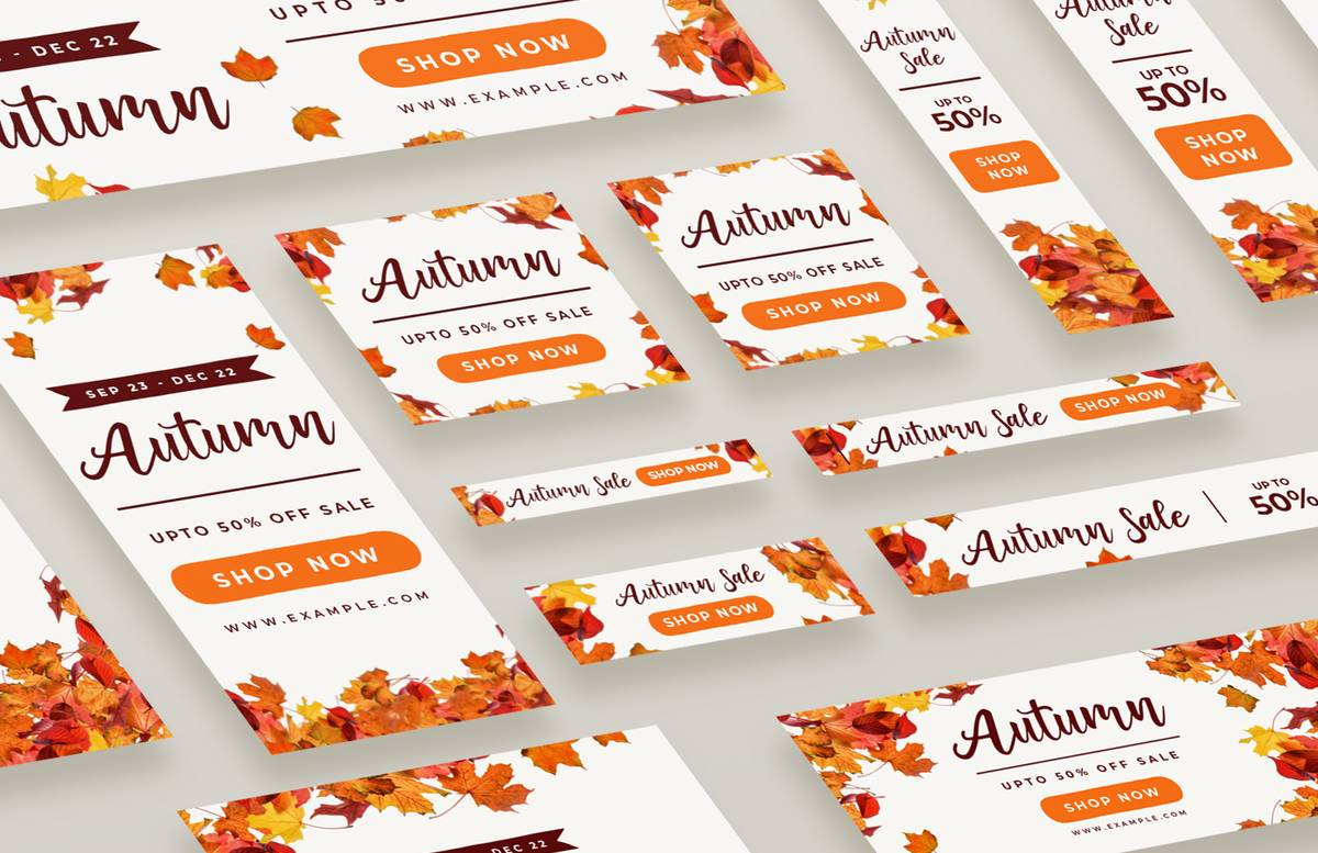 Autumn Web Banners Social Media Pack Preview 1