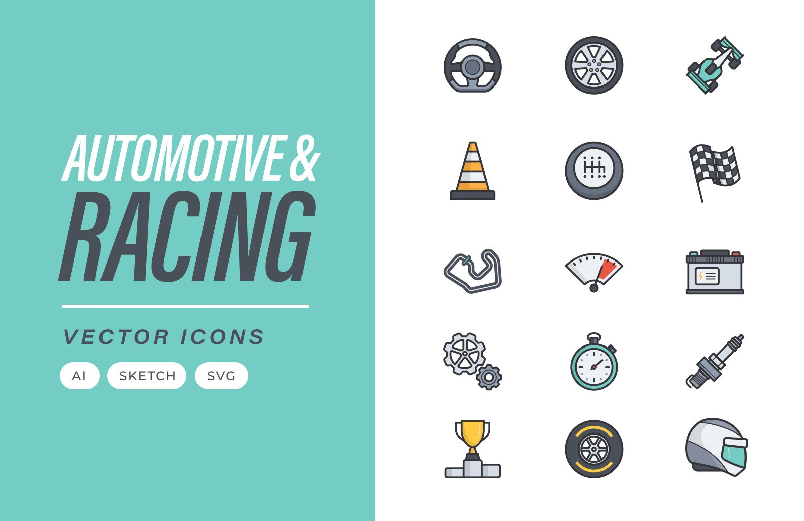 Automotive Racing Vector Icons Preview 1A