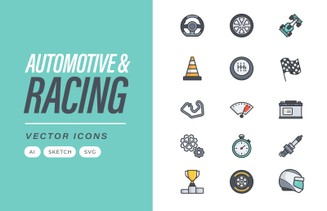 Automotive & Racing Vector Icons