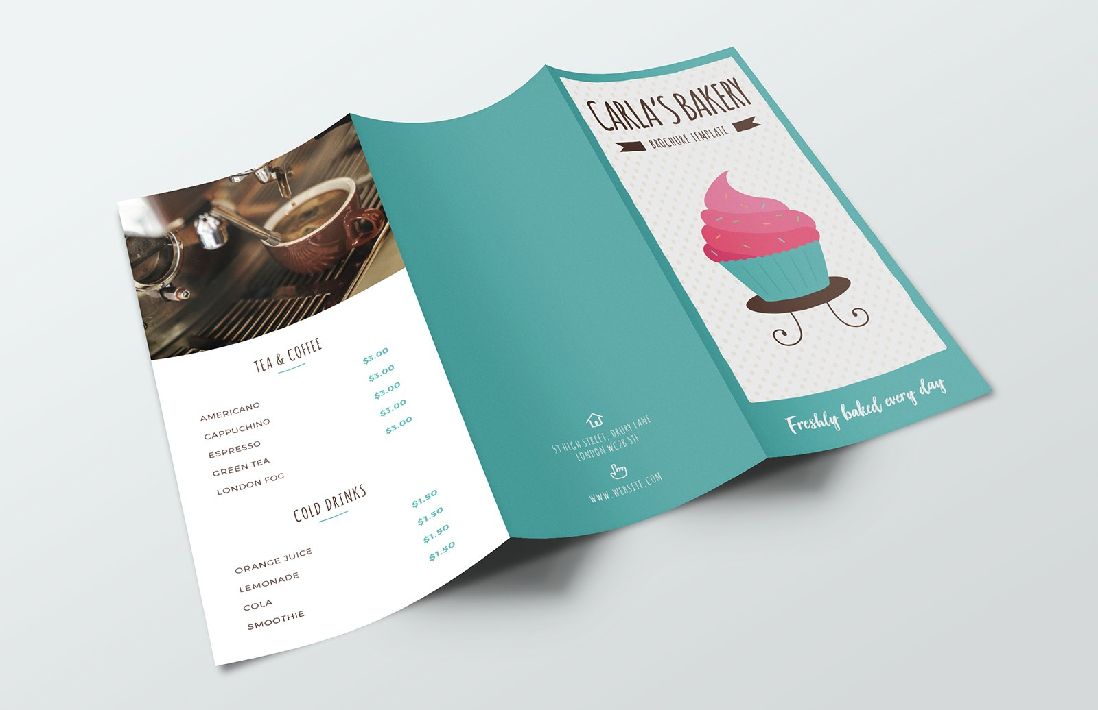 Bakery Tri Fold Brochure Template Preview 1