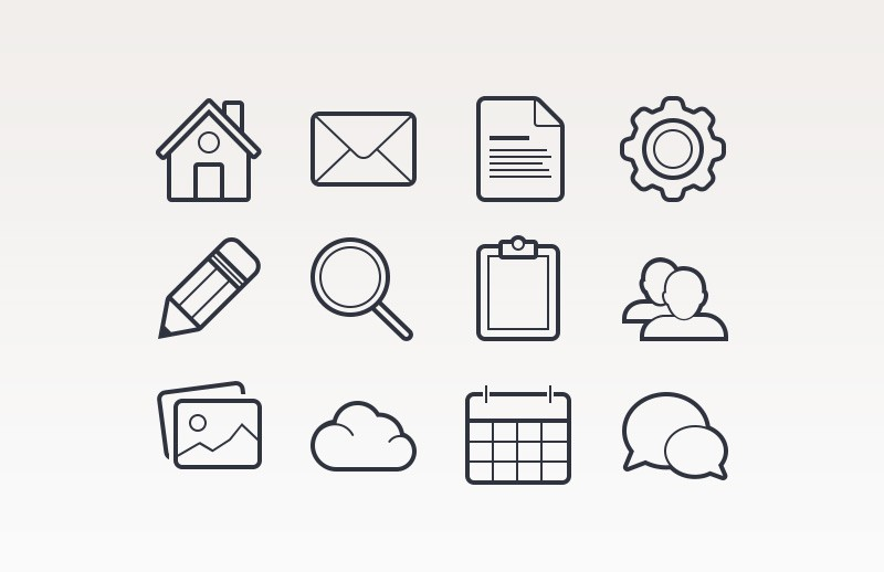 Outlined Basic Vector Icons