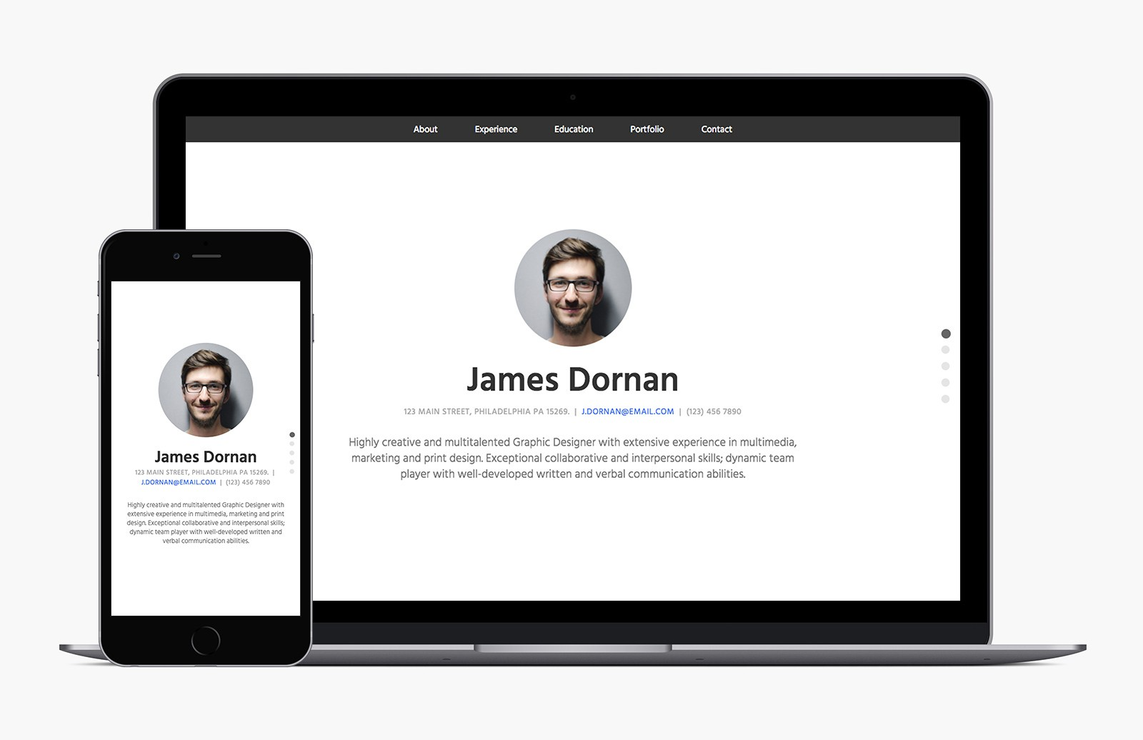 Bootstrap 4 Resume Template Preview 1