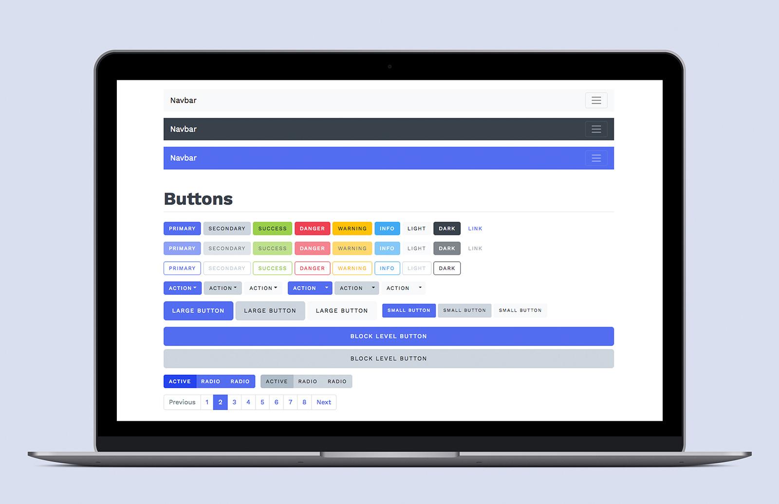 Bootstrap 4 Sass Theme Kit Preview 1