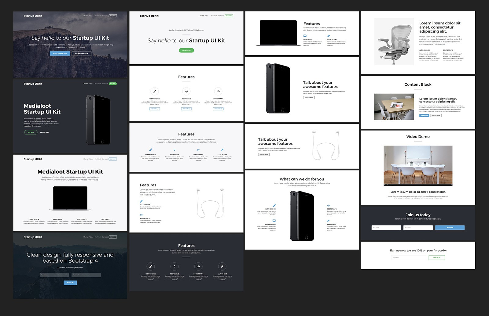 Large Bootstrap Startup Ui Kit 2 Preview 2