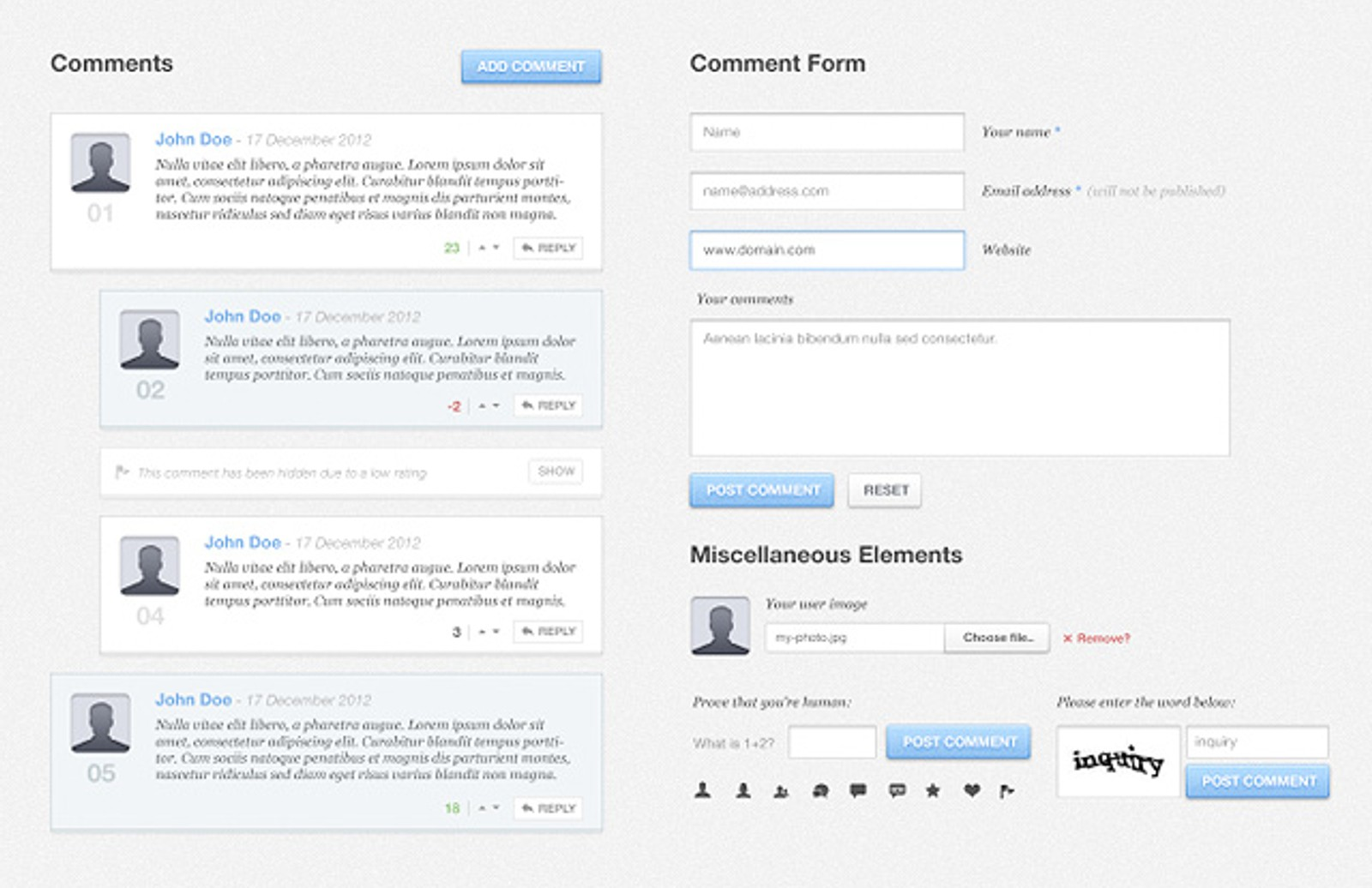 Blog  Comments  Ui  Kit  Preview1