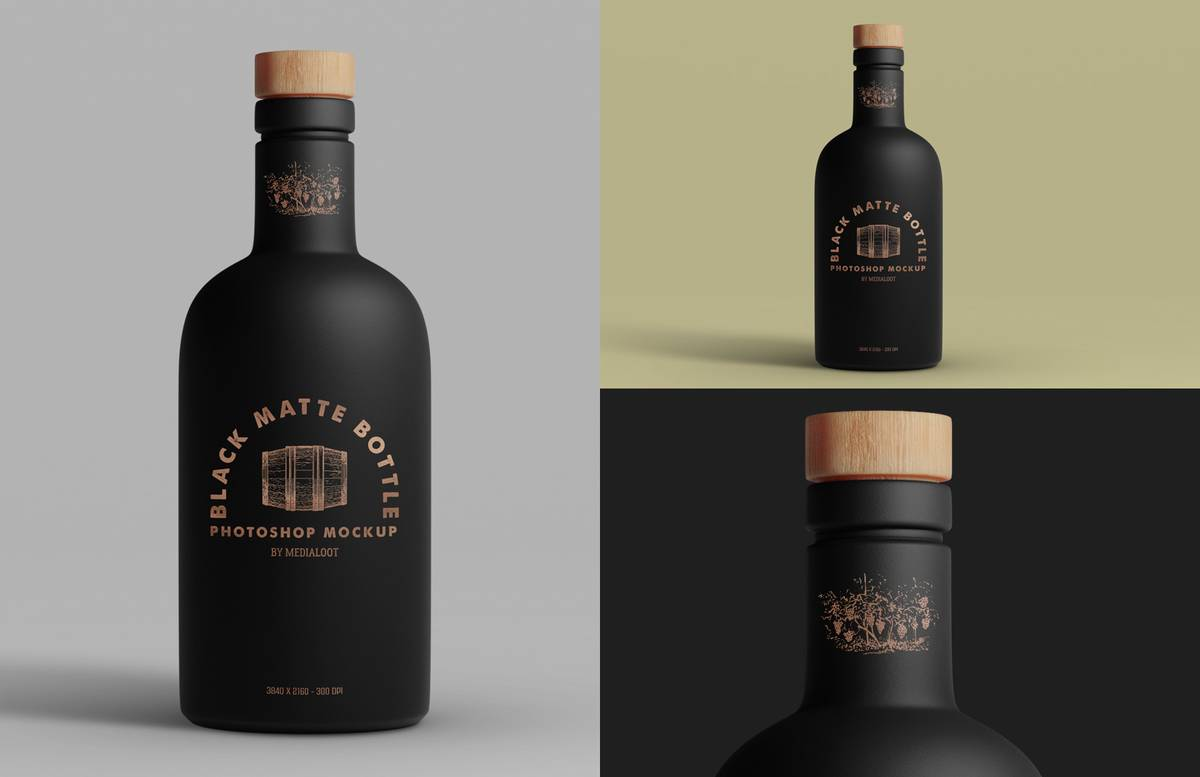 Black Matte Bottle Mockup Preview 1