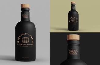 Black Matte Bottle Mockup