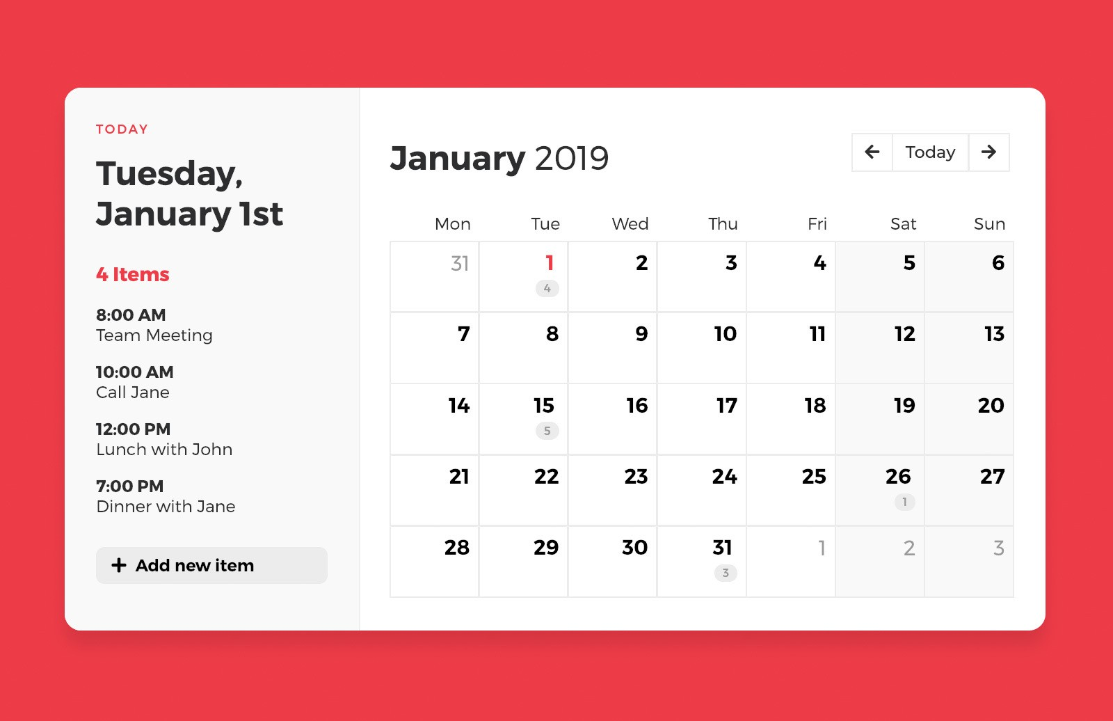 Css Calendar Template Preview 1