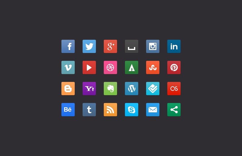 Large Css3  Social  Media  Buttons 800X518 2