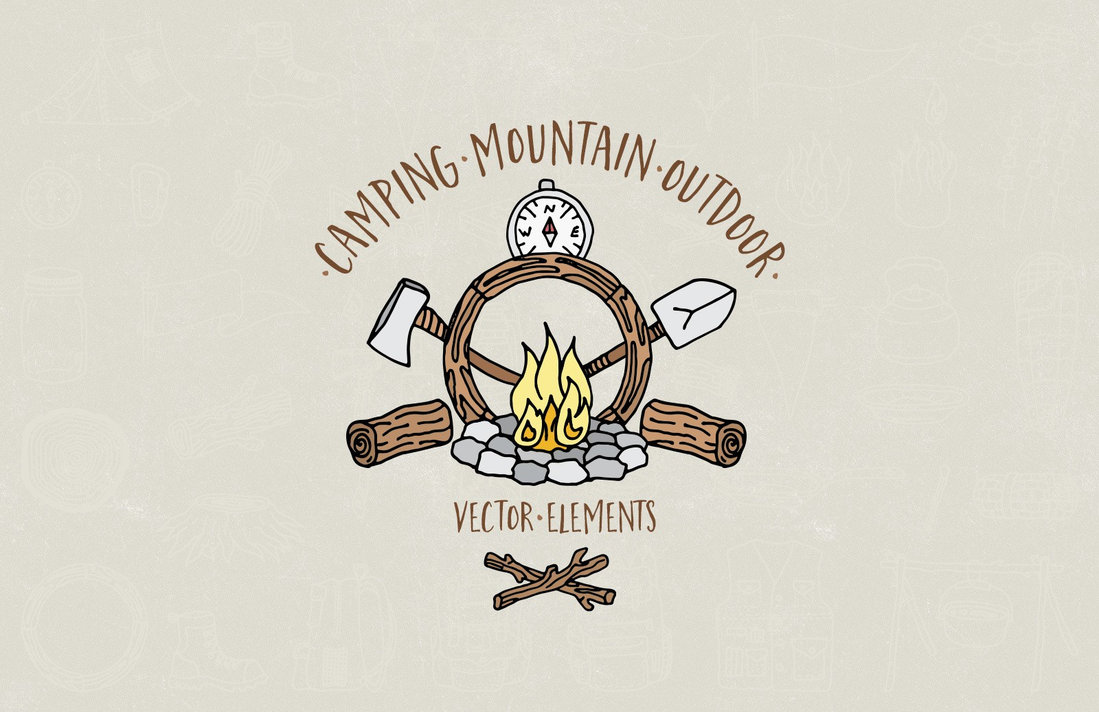 Camping Mountain Outdoor Vectors Preview 1