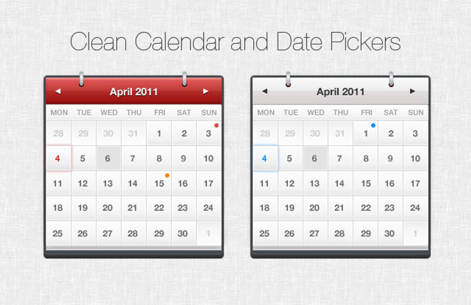 Calendar  Datepickers