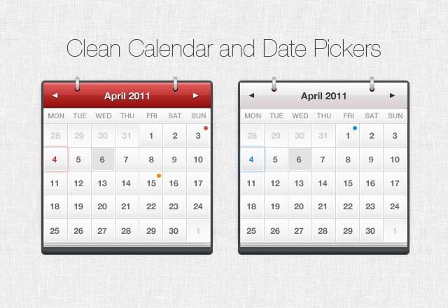 Clean Calendar & Date Pickers