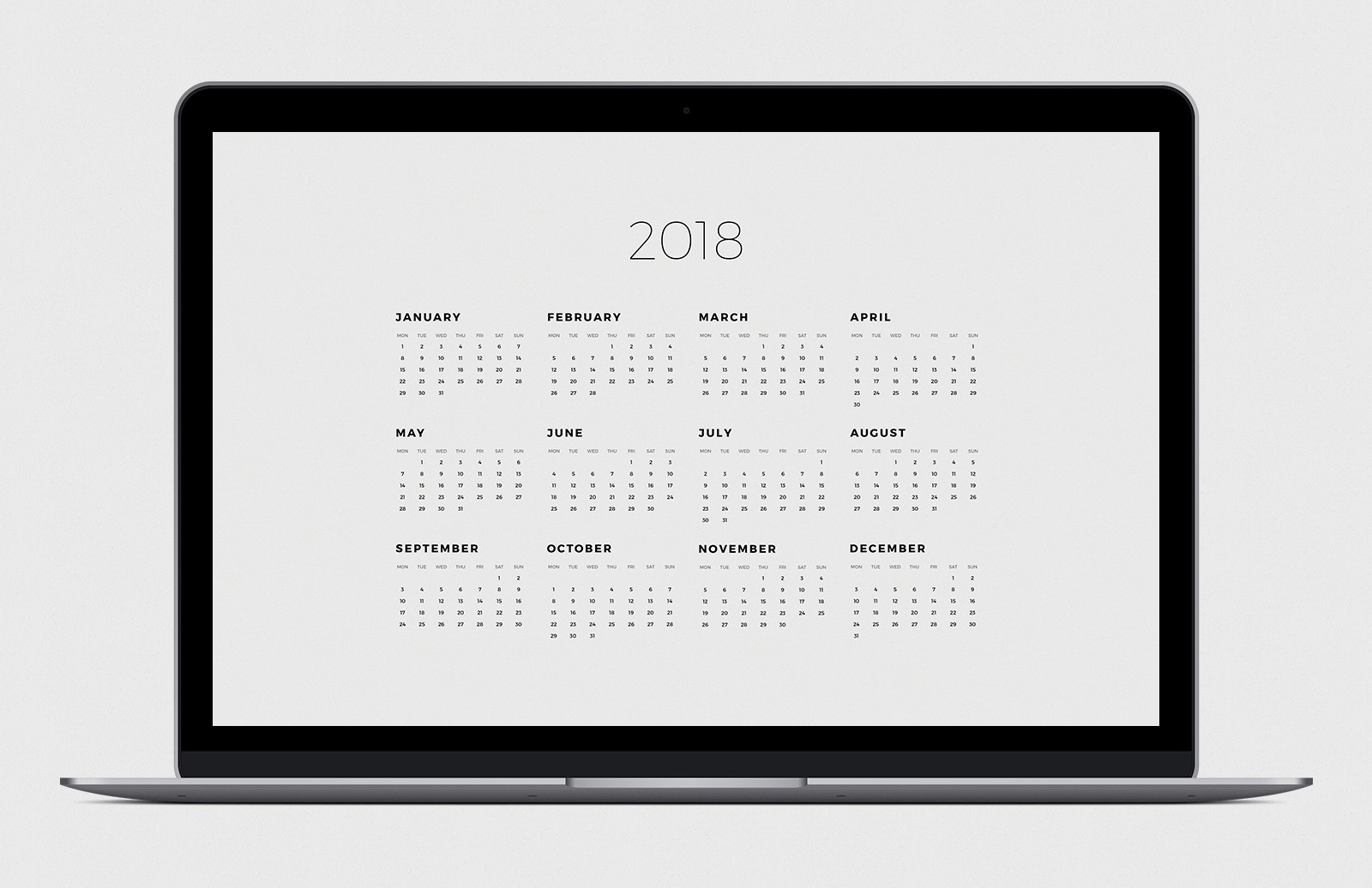 2018 Calendar Desktop Background Pack