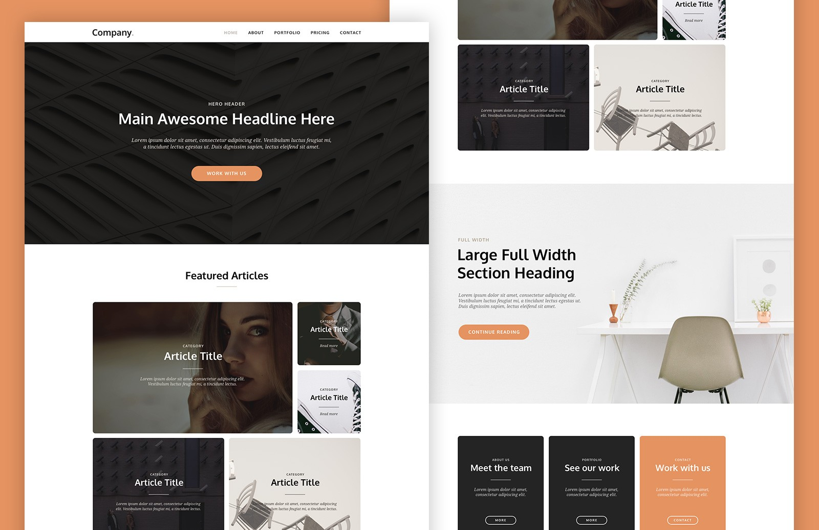 Large Card  Based  Landing  Page  Template  Preview 1