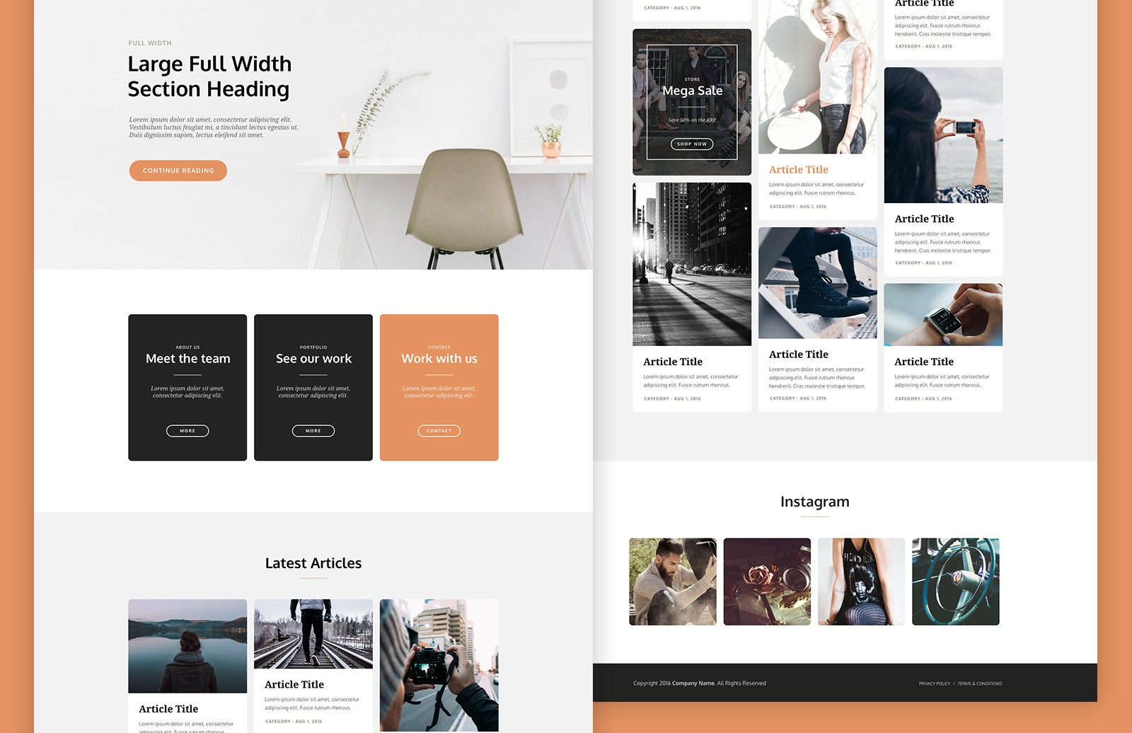 Large Card  Based  Landing  Page  Template  Preview 2