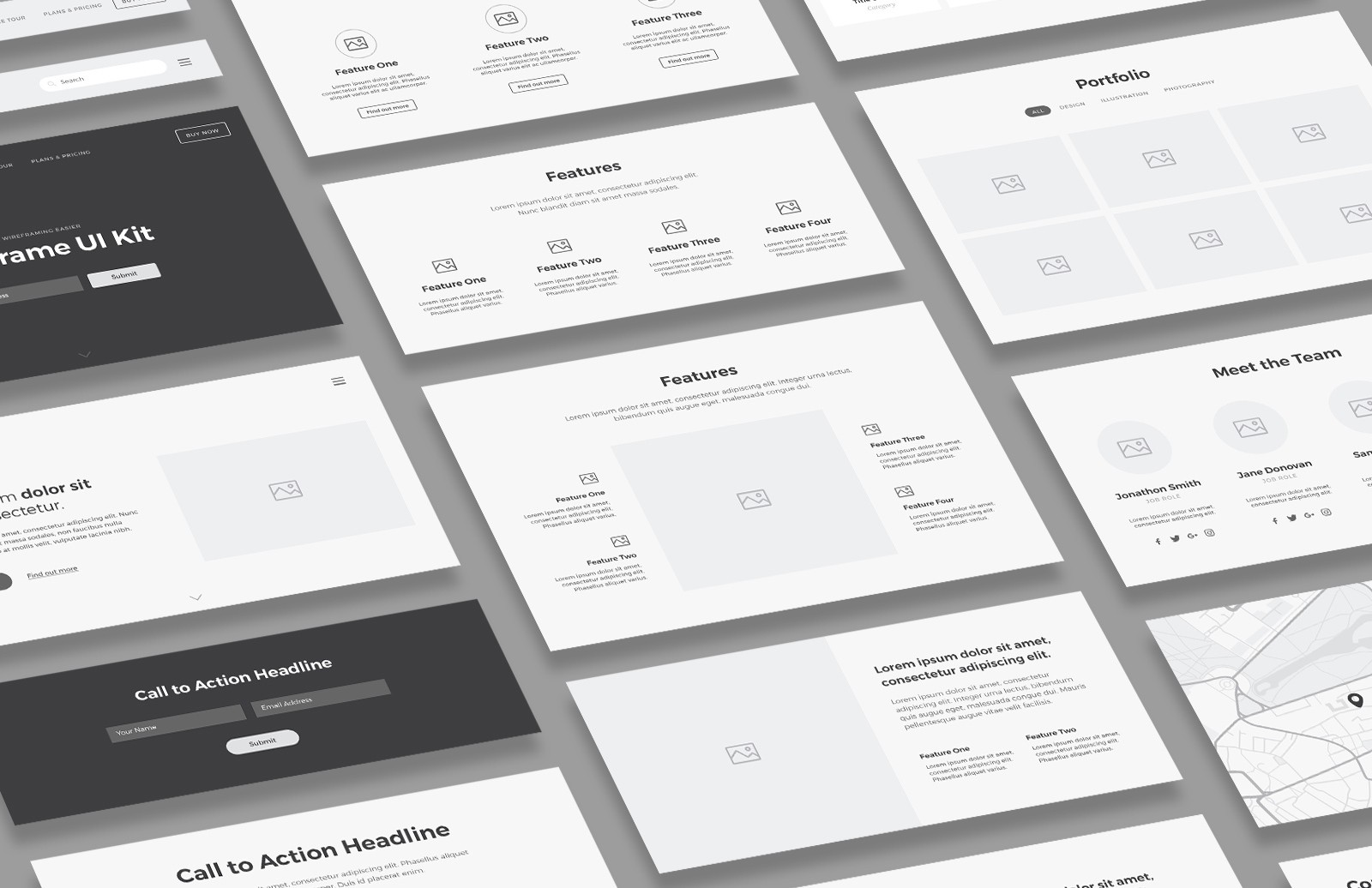Card Based Wireframe Ui Kit Preview 1