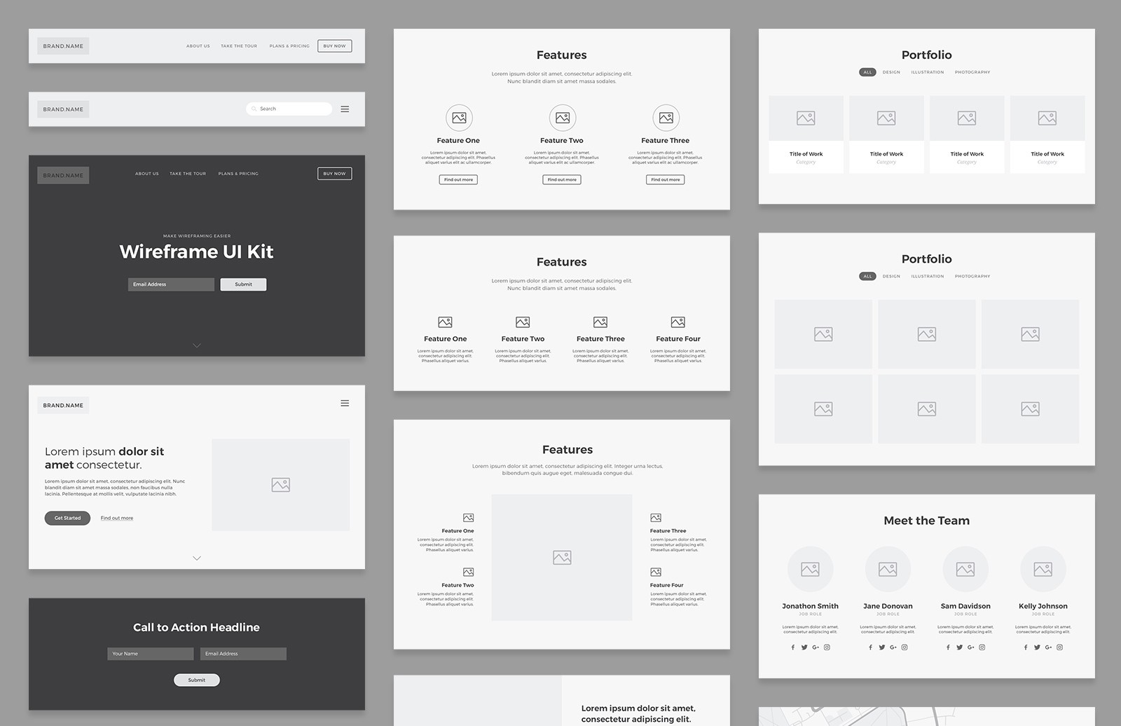 Card-Based Wireframe UI Kit