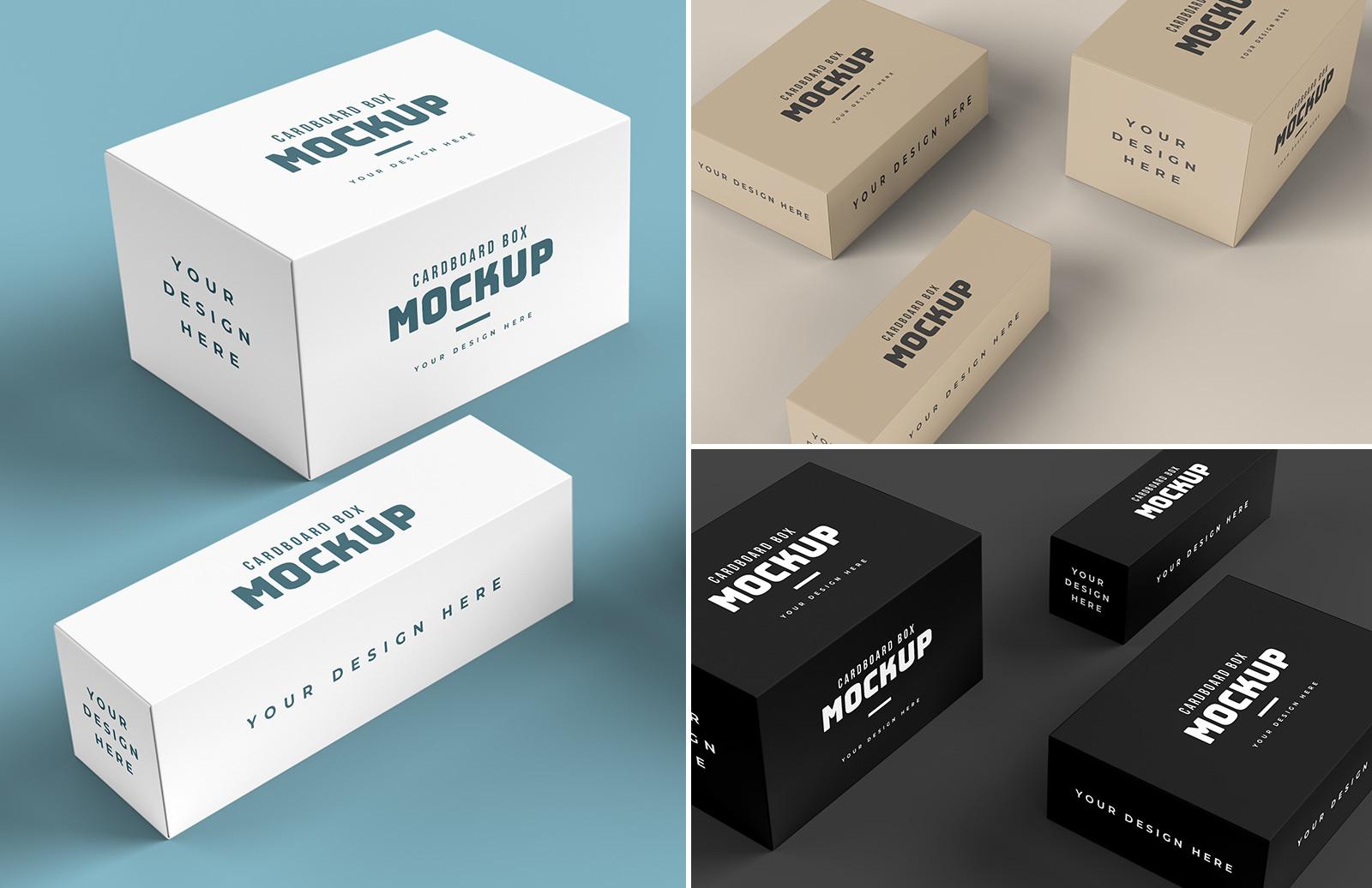 Cardboard Box Mockup Scenes Preview 1D