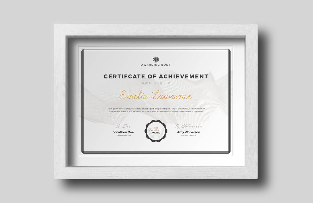 Certificate Of Achievement Template Preview 1B
