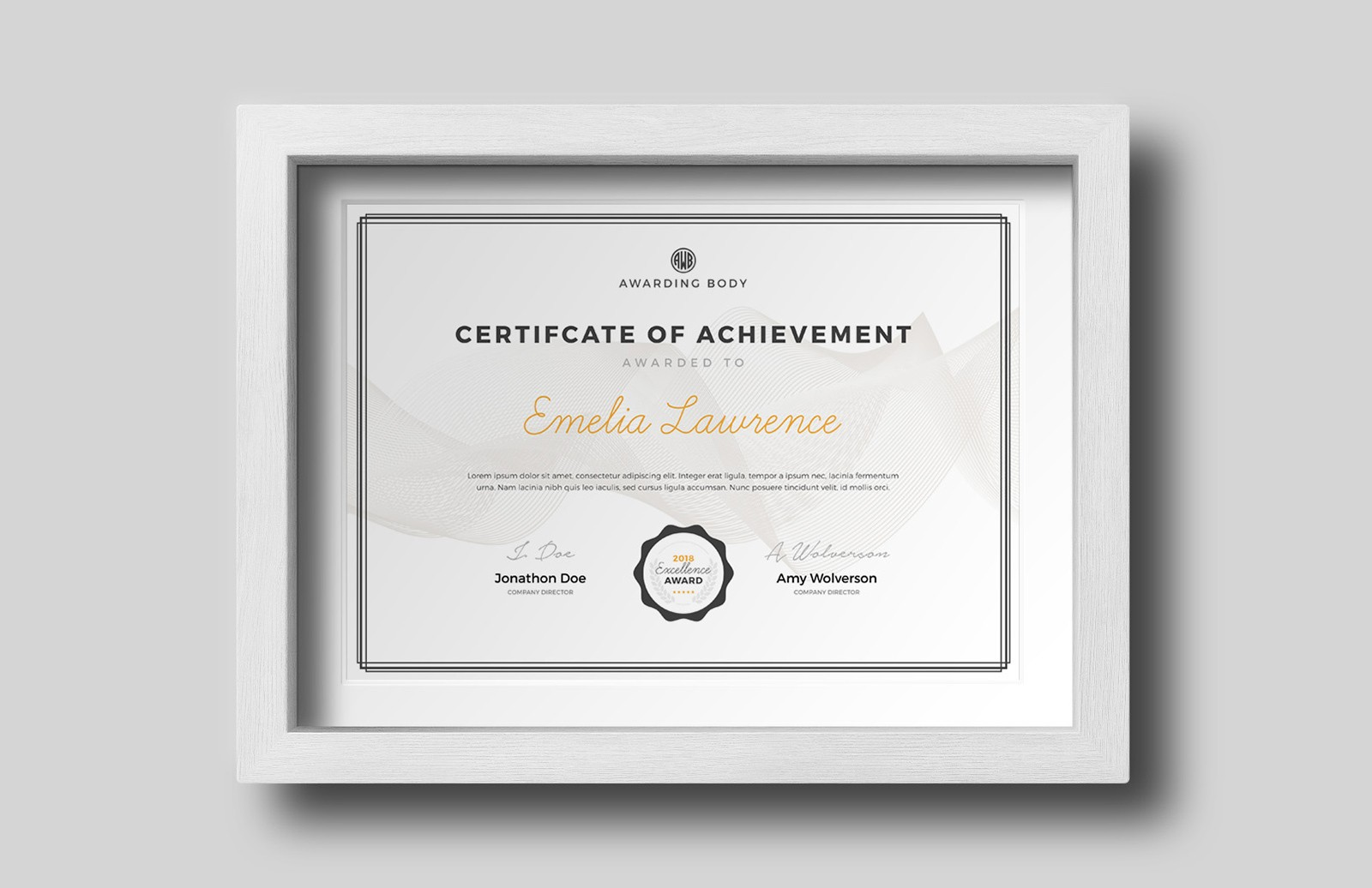 Award Certificate Template for Photoshop