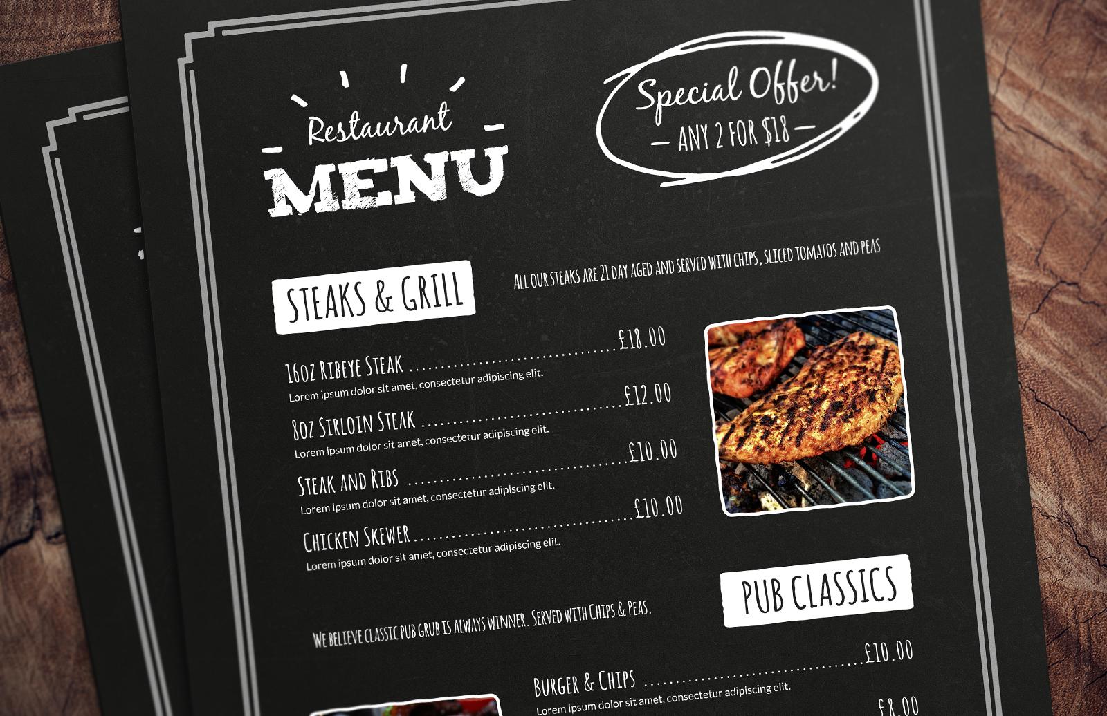 resturant menu templates - chalkboard restaurant menu template medialoot