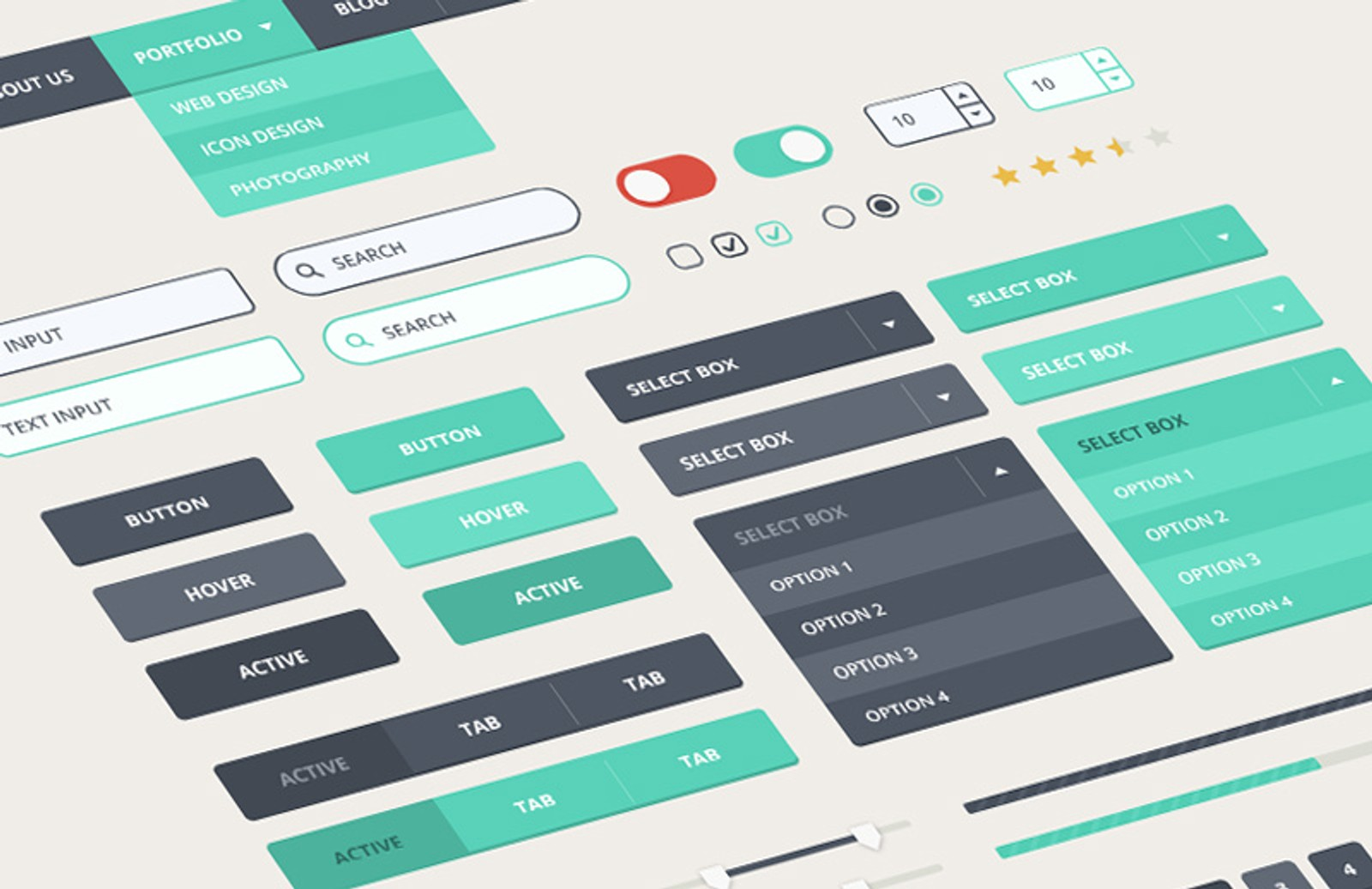 Contemporary  Flat  Ui  Kit  Preview 1