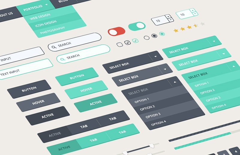 Contemporary Flat UI Kit