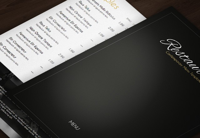 Contemporary Restaurant Menu