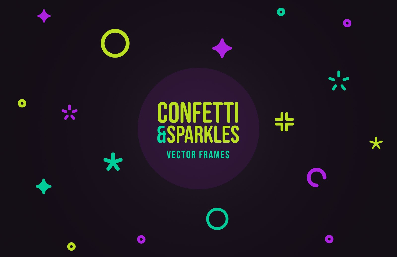 Confetti & Sparkles Vector Frames