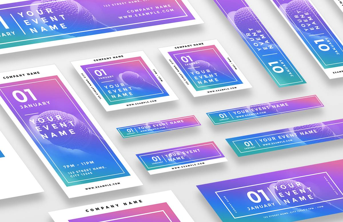 Colorful Web Banners Social Media Pack Preview 1